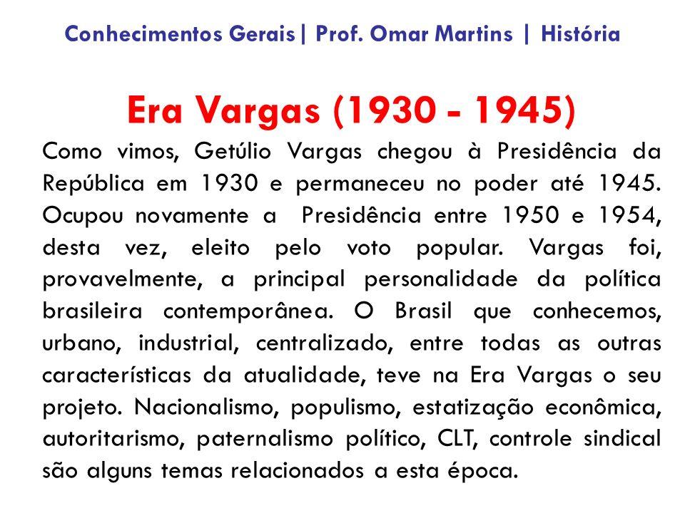Era Vargas (1930 - 1945) Como vimos, Getúlio Vargas chegou à Presidência da República em 1930 e permaneceu no poder até 1945.