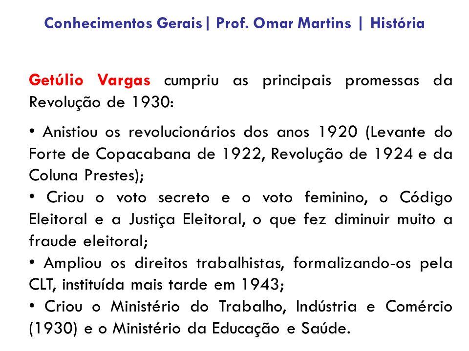 Getúlio Vargas cumpriu as principais promessas da Revolução de 1930: Anistiou os revolucionários dos anos 1920 (Levante do Forte de Copacabana de 1922, Revolução de 1924 e da Coluna Prestes); Criou o voto secreto e o voto feminino, o Código Eleitoral e a Justiça Eleitoral, o que fez diminuir muito a fraude eleitoral; Ampliou os direitos trabalhistas, formalizando-os pela CLT, instituída mais tarde em 1943; Criou o Ministério do Trabalho, Indústria e Comércio (1930) e o Ministério da Educação e Saúde.