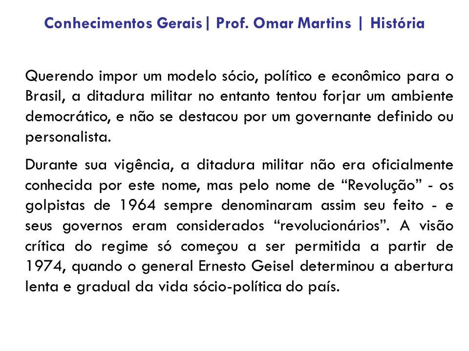 Querendo impor um modelo sócio, político e econômico para o Brasil, a ditadura militar no entanto tentou forjar um ambiente democrático, e não se destacou por um governante definido ou personalista.