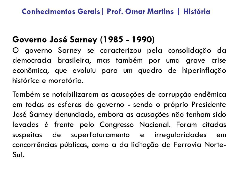 Governo José Sarney (1985 - 1990) O governo Sarney se caracterizou pela consolidação da democracia brasileira, mas também por uma grave crise econômica, que evoluiu para um quadro de hiperinflação histórica e moratória.