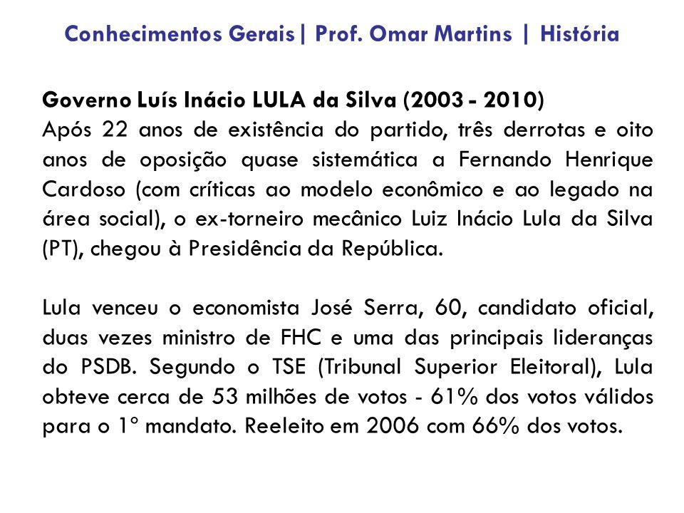 Governo Luís Inácio LULA da Silva (2003 - 2010) Após 22 anos de existência do partido, três derrotas e oito anos de oposição quase sistemática a Fernando Henrique Cardoso (com críticas ao modelo econômico e ao legado na área social), o ex-torneiro mecânico Luiz Inácio Lula da Silva (PT), chegou à Presidência da República.