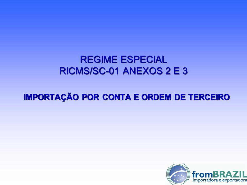 REGIME ESPECIAL RICMS/SC-01 ANEXOS 2 E 3 IMPORTAÇÃO POR CONTA E ORDEM DE TERCEIRO