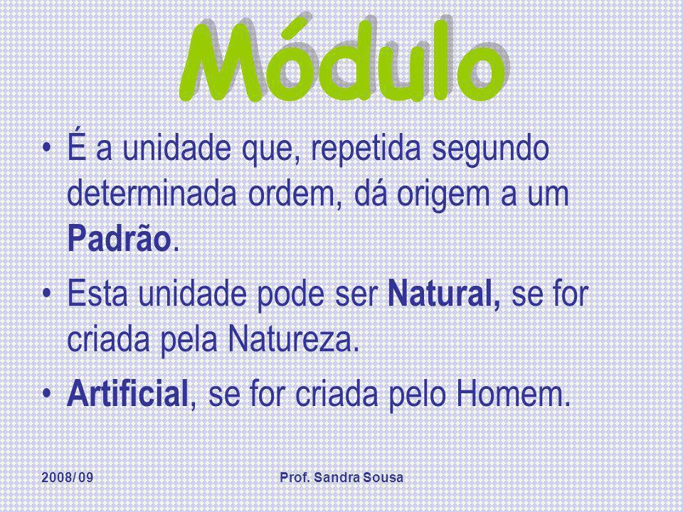2008/ 09Prof. Sandra Sousa Módulo É a unidade que, repetida segundo determinada ordem, dá origem a um Padrão. Esta unidade pode ser Natural, se for cr