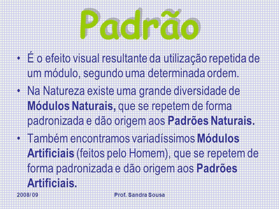 2008/ 09Prof. Sandra Sousa Padrão É o efeito visual resultante da utilização repetida de um módulo, segundo uma determinada ordem. Na Natureza existe