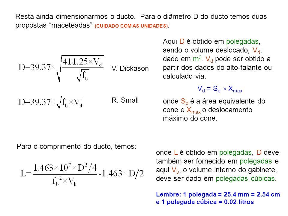 Resta ainda dimensionarmos o ducto. Para o diâmetro D do ducto temos duas propostas maceteadas (CUIDADO COM AS UNIDADES) : V. Dickason R. Small Aqui D