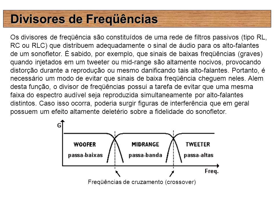 Divisores de Freqüências Os divisores de freqüência são constituídos de uma rede de filtros passivos (tipo RL, RC ou RLC) que distribuem adequadamente