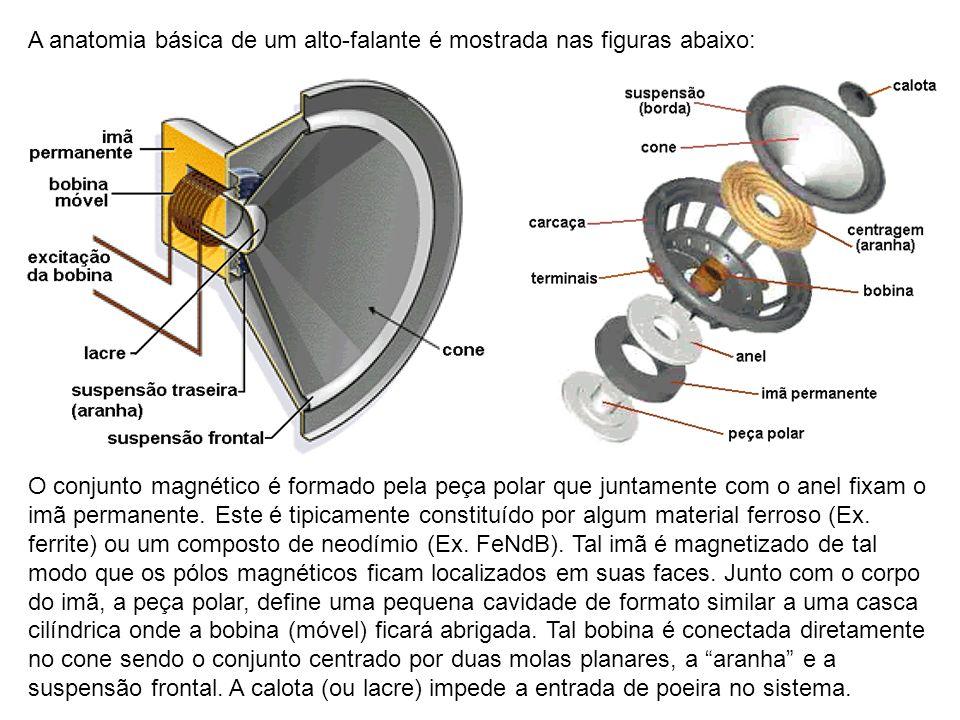 A anatomia básica de um alto-falante é mostrada nas figuras abaixo: O conjunto magnético é formado pela peça polar que juntamente com o anel fixam o i