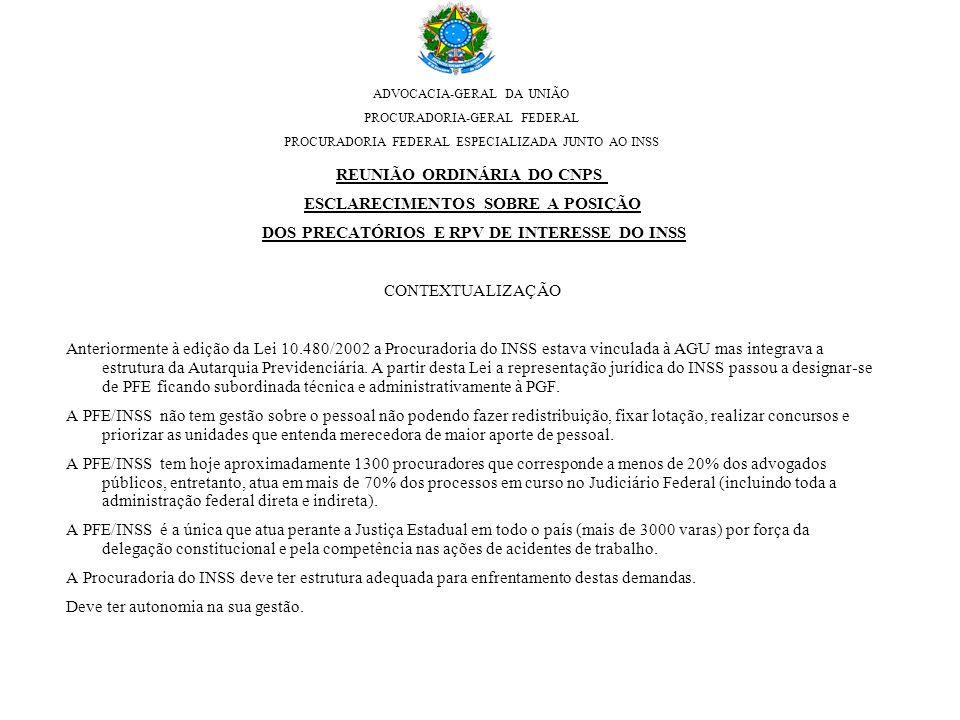 ADVOCACIA-GERAL DA UNIÃO PROCURADORIA-GERAL FEDERAL PROCURADORIA FEDERAL ESPECIALIZADA JUNTO AO INSS REUNIÃO ORDINÁRIA DO CNPS ESCLARECIMENTOS SOBRE A POSIÇÃO DOS PRECATÓRIOS E RPV DE INTERESSE DO INSS CONTEXTUALIZAÇÃO Anteriormente à edição da Lei 10.480/2002 a Procuradoria do INSS estava vinculada à AGU mas integrava a estrutura da Autarquia Previdenciária.
