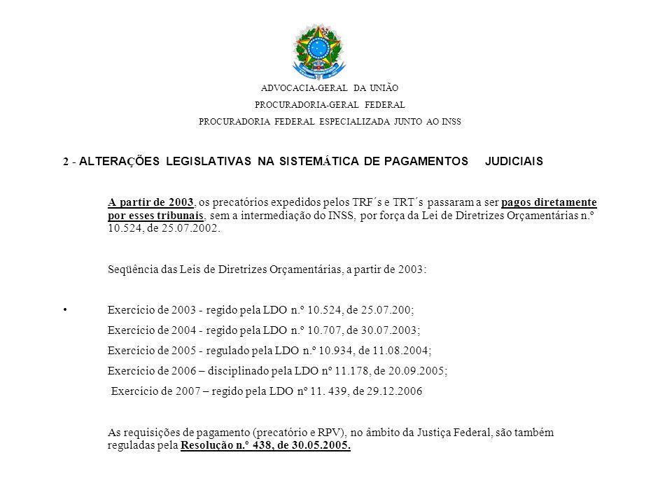 2 - ALTERA Ç ÕES LEGISLATIVAS NA SISTEM Á TICA DE PAGAMENTOS JUDICIAIS A partir de 2003, os precatórios expedidos pelos TRF´s e TRT´s passaram a ser p