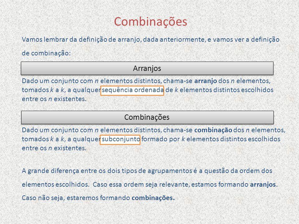 Combinações Vamos lembrar da definição de arranjo, dada anteriormente, e vamos ver a definição de combinação: A grande diferença entre os dois tipos d