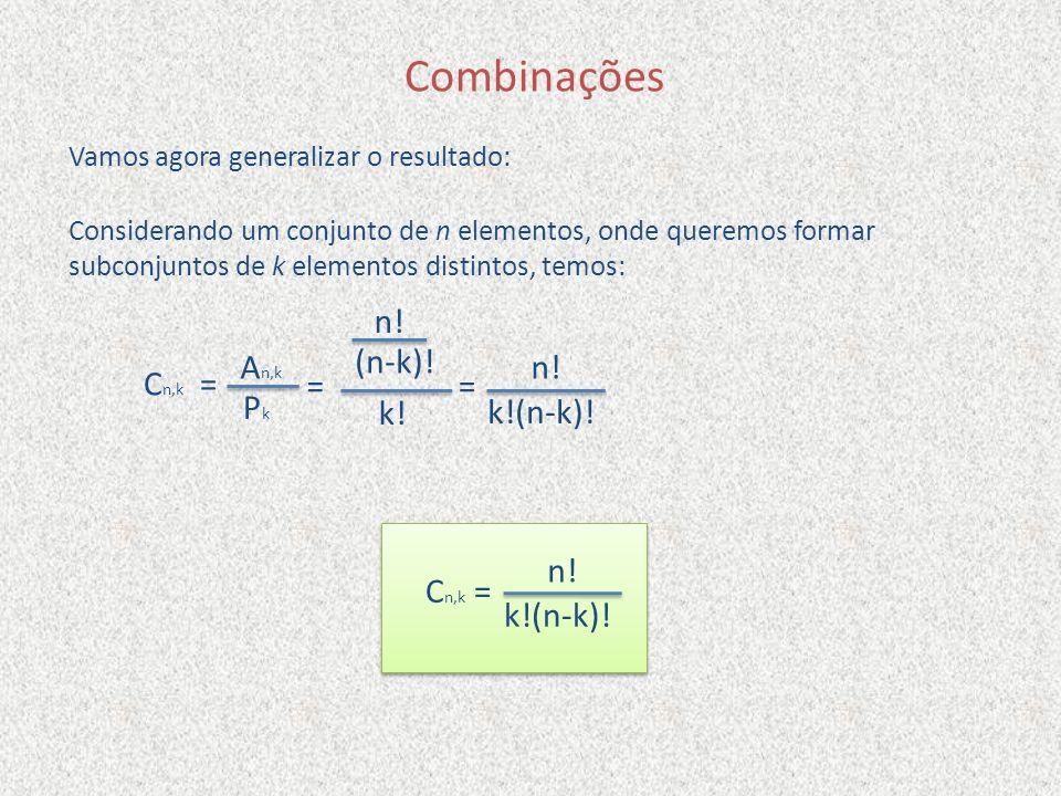 Vamos agora generalizar o resultado: C n,k = Combinações Considerando um conjunto de n elementos, onde queremos formar subconjuntos de k elementos dis