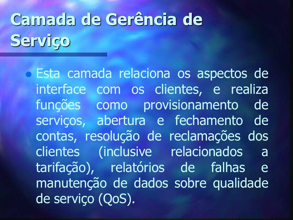 Camada de Gerência de Serviço l Esta camada relaciona os aspectos de interface com os clientes, e realiza funções como provisionamento de serviços, ab