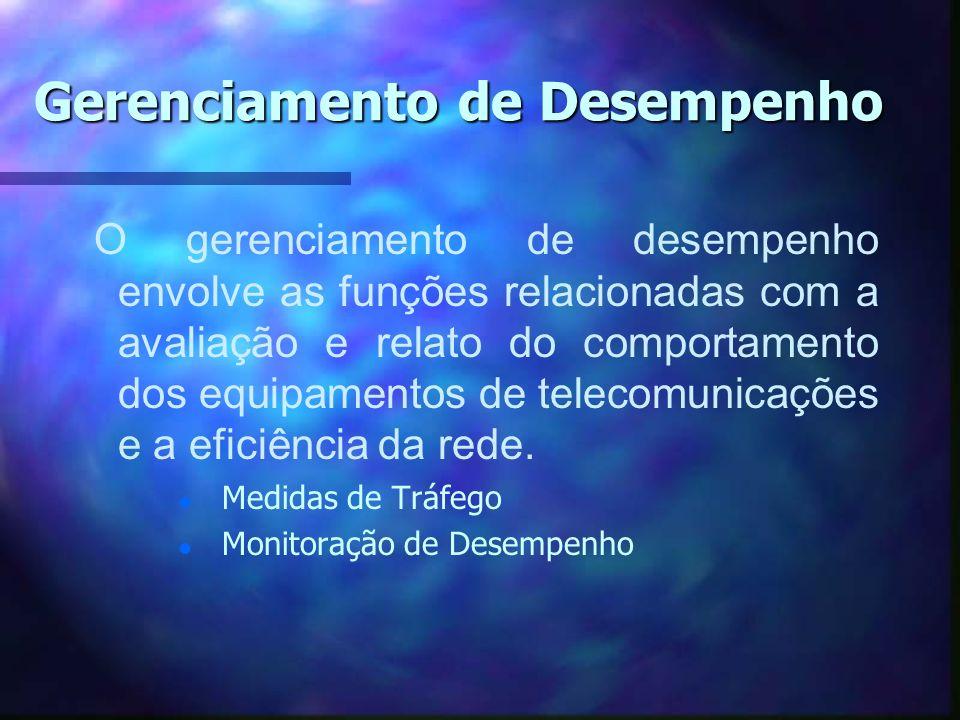 Gerenciamento de Desempenho O gerenciamento de desempenho envolve as funções relacionadas com a avaliação e relato do comportamento dos equipamentos d