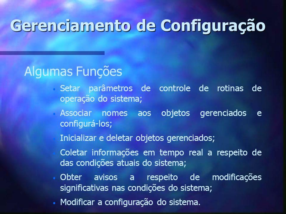 Gerenciamento de Configuração Algumas Funções Setar parâmetros de controle de rotinas de operação do sistema; Associar nomes aos objetos gerenciados e