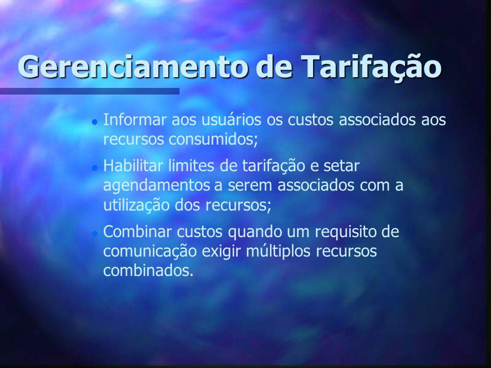 Gerenciamento de Tarifação l l Informar aos usuários os custos associados aos recursos consumidos; l l Habilitar limites de tarifação e setar agendame
