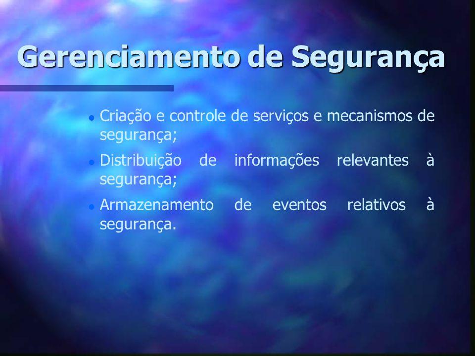 Gerenciamento de Segurança l l Criação e controle de serviços e mecanismos de segurança; l l Distribuição de informações relevantes à segurança; l l A