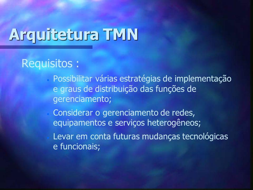 Arquitetura TMN Requisitos : Possibilitar várias estratégias de implementação e graus de distribuição das funções de gerenciamento; Considerar o geren