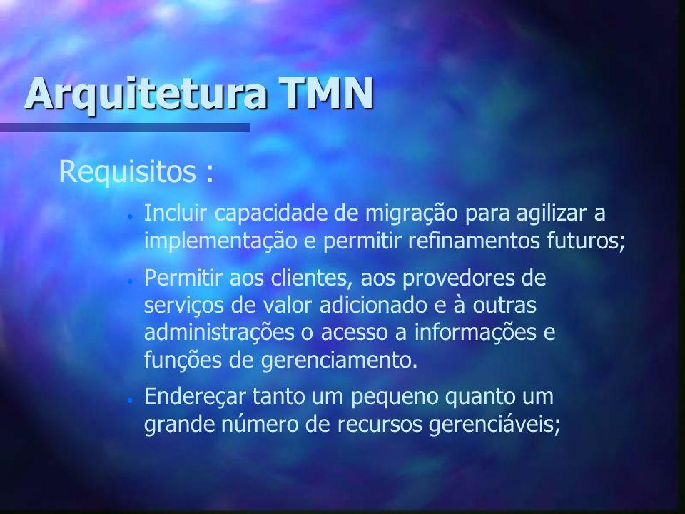 Arquitetura TMN Requisitos : Incluir capacidade de migração para agilizar a implementação e permitir refinamentos futuros; Permitir aos clientes, aos