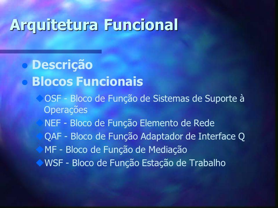 Arquitetura Funcional l l Descrição l l Blocos Funcionais u uOSF - Bloco de Função de Sistemas de Suporte à Operações u uNEF - Bloco de Função Element