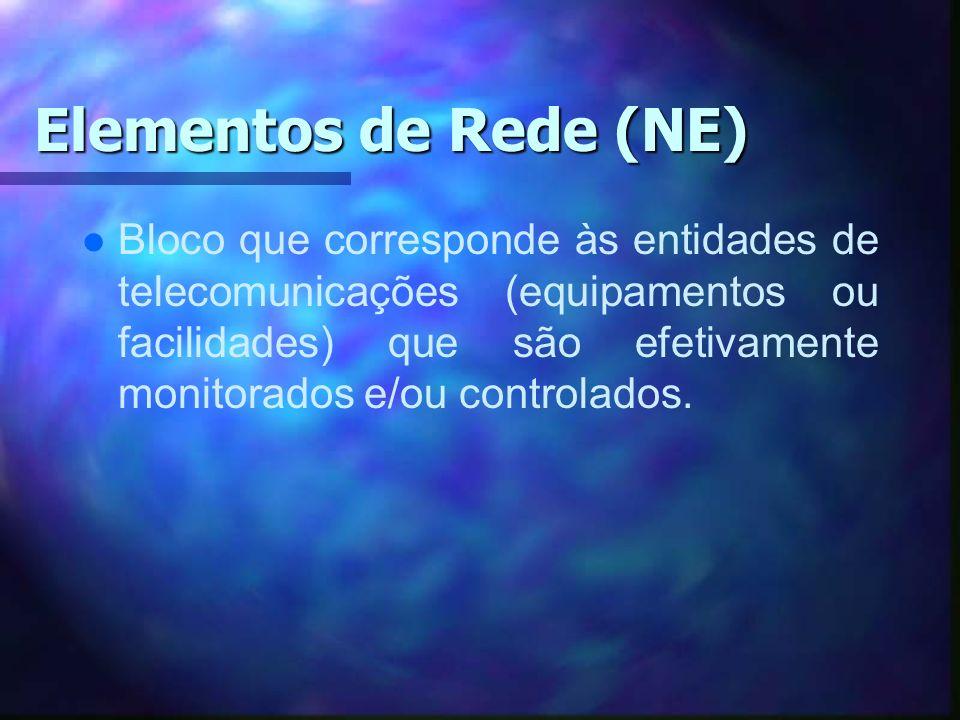 Elementos de Rede (NE) l l Bloco que corresponde às entidades de telecomunicações (equipamentos ou facilidades) que são efetivamente monitorados e/ou