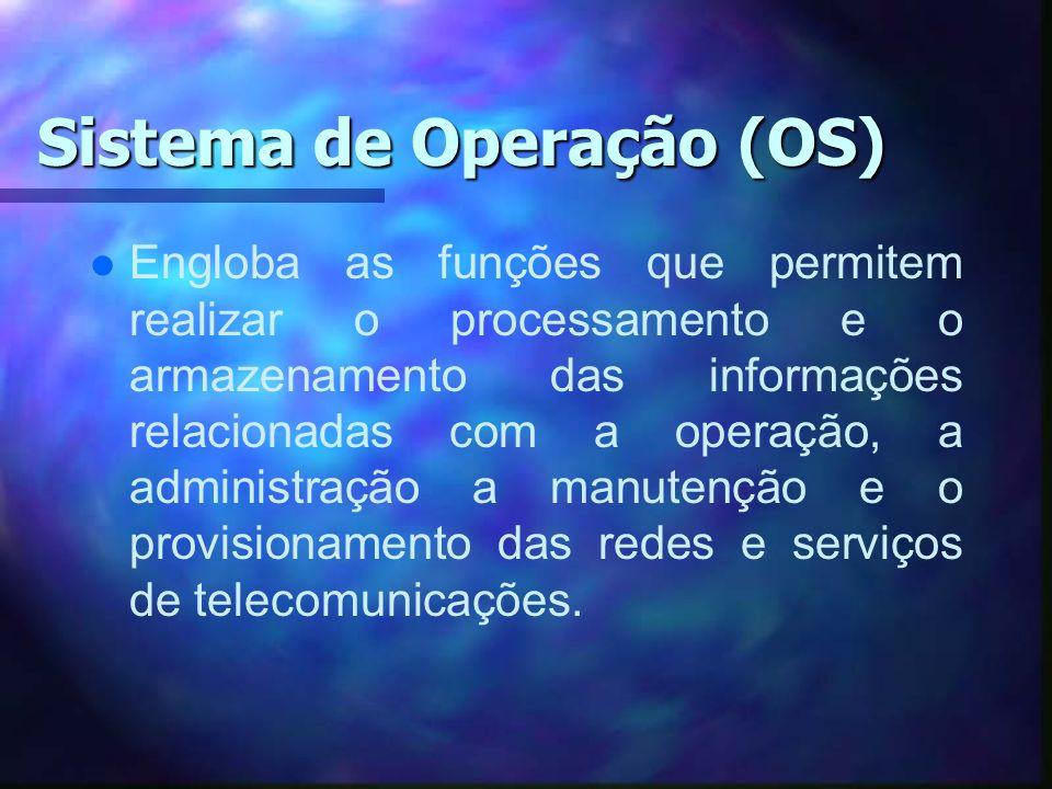 Sistema de Operação (OS) l l Engloba as funções que permitem realizar o processamento e o armazenamento das informações relacionadas com a operação, a