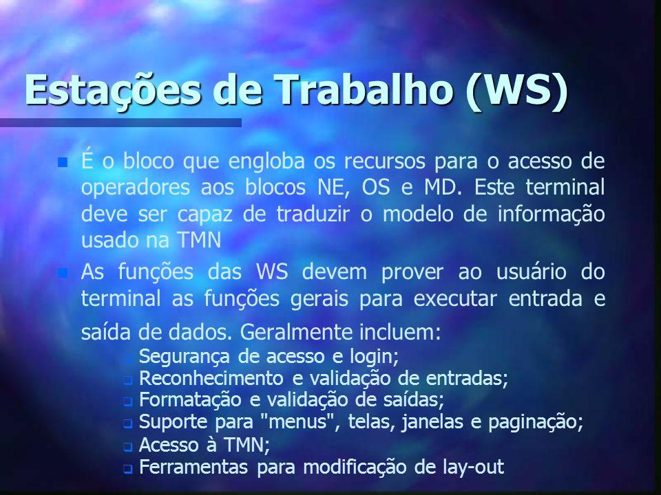 Estações de Trabalho (WS) n n É o bloco que engloba os recursos para o acesso de operadores aos blocos NE, OS e MD. Este terminal deve ser capaz de tr