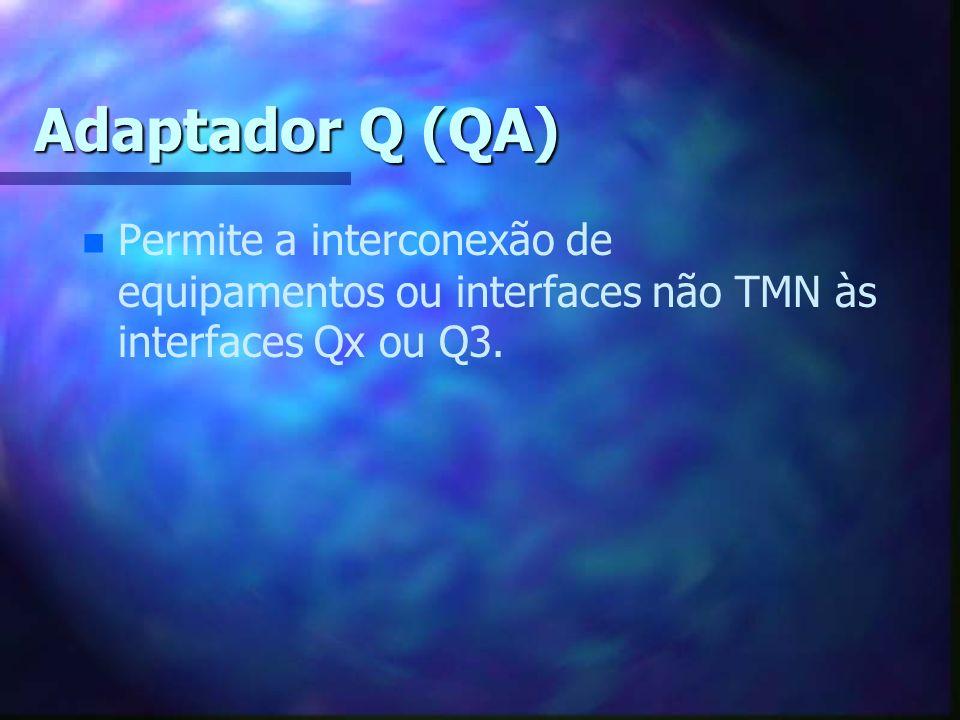 Adaptador Q (QA) Permite a interconexão de equipamentos ou interfaces não TMN às interfaces Qx ou Q3.