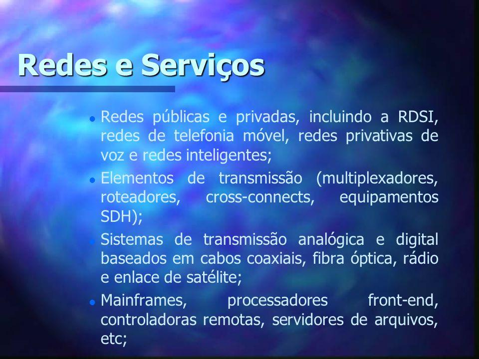 Redes e Serviços l l Redes públicas e privadas, incluindo a RDSI, redes de telefonia móvel, redes privativas de voz e redes inteligentes; l l Elemento