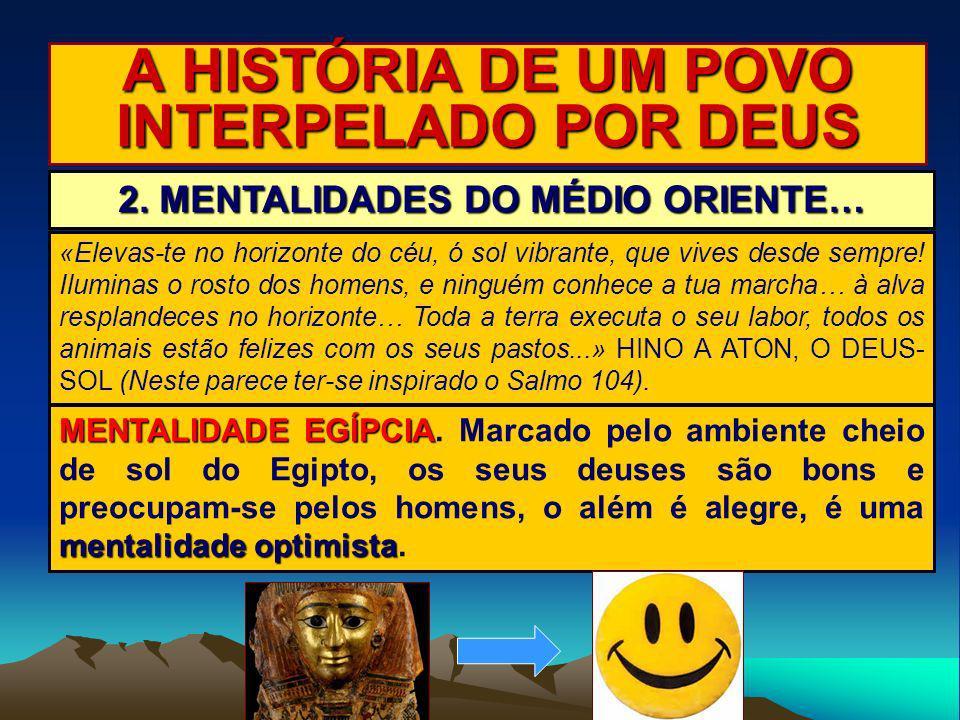 A HISTÓRIA DE UM POVO INTERPELADO POR DEUS 2. MENTALIDADES DO MÉDIO ORIENTE… MENTALIDADE EGÍPCIA mentalidade optimista MENTALIDADE EGÍPCIA. Marcado pe