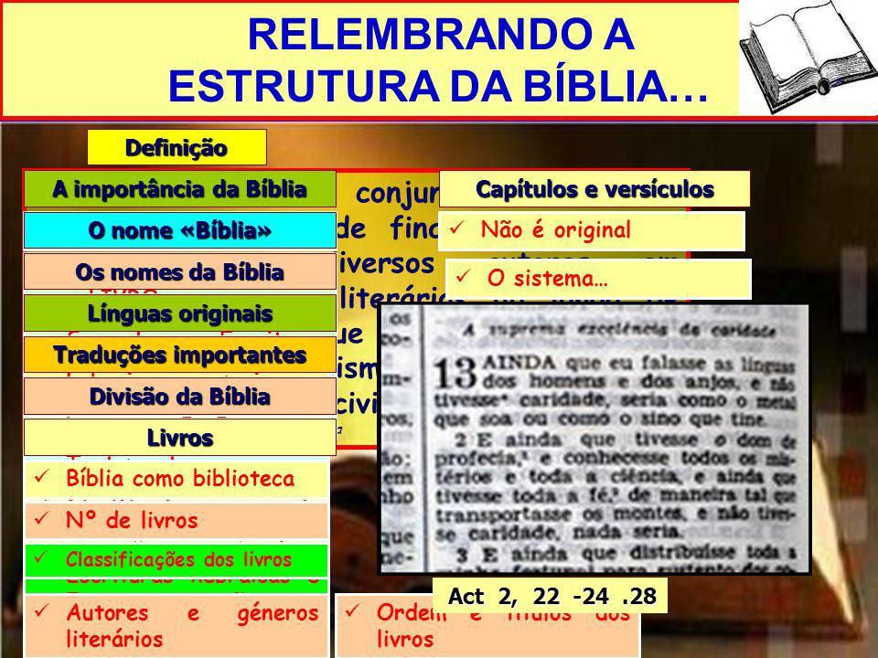 RELEMBRANDO A ESTRUTURA DA BÍBLIA… Definição «É um determinado conjunto de escritos, judeus e cristãos, de finalidade religiosa, compostos por diverso