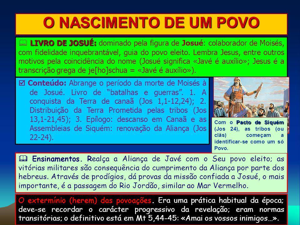 O NASCIMENTO DE UM POVO LIVRO DE JOSUÉ: LIVRO DE JOSUÉ: dominado pela figura de Josué: colaborador de Moisés, com fidelidade inquebrantável, guia do p