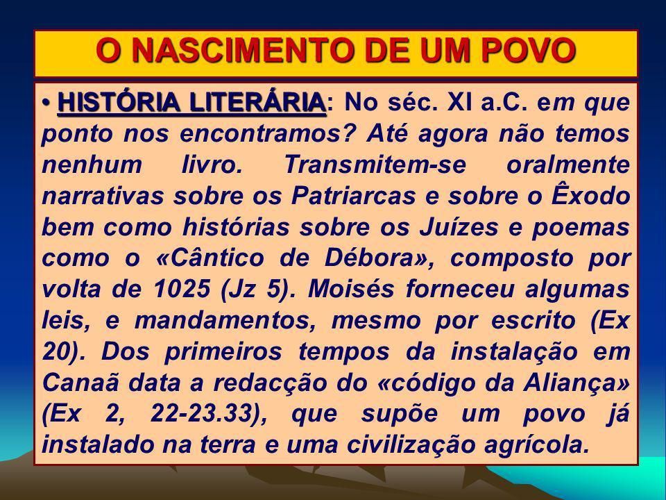 O NASCIMENTO DE UM POVO HISTÓRIA LITERÁRIA HISTÓRIA LITERÁRIA: No séc. XI a.C. em que ponto nos encontramos? Até agora não temos nenhum livro. Transmi