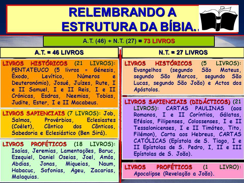 RELEMBRANDO A ESTRUTURA DA BÍBIA… = 73 LIVROS A.T. (46) + N.T. (27) = 73 LIVROS LIVROS HISTÓRICOS LIVROS HISTÓRICOS (21 LIVROS): PENTATEUCO (5 livros