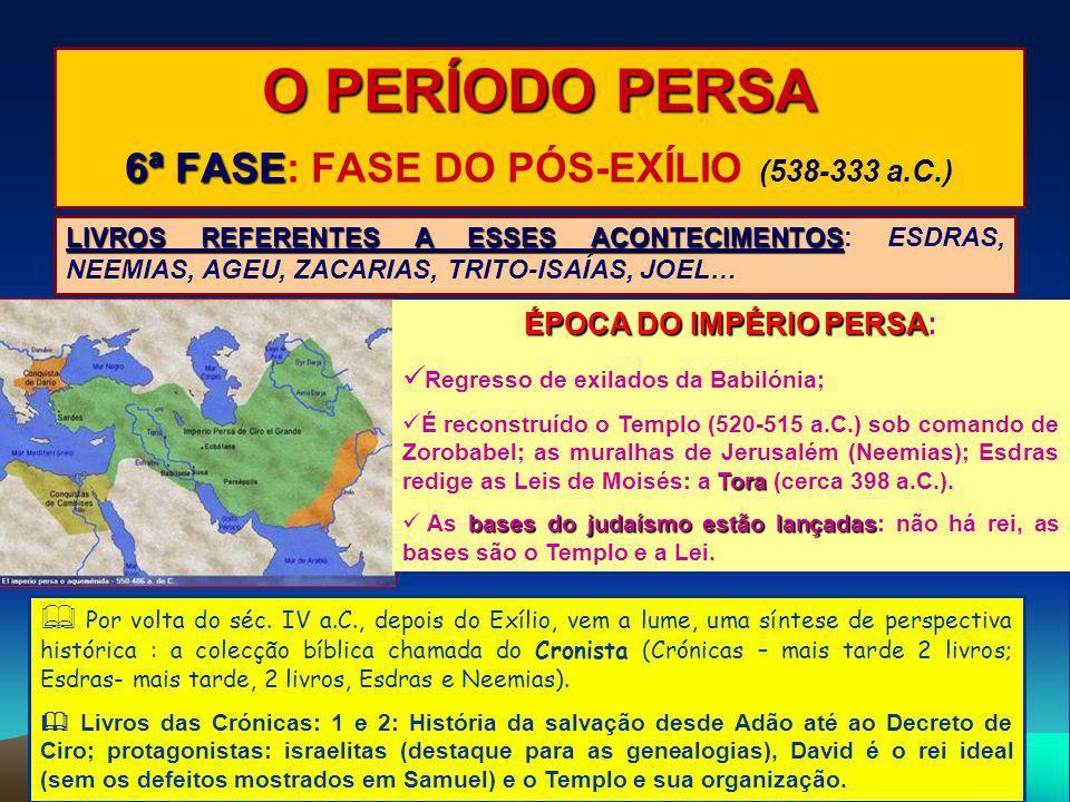 O PERÍODO PERSA 6ª FASE 6ª FASE: FASE DO PÓS-EXÍLIO (538-333 a.C.) LIVROS REFERENTES A ESSES ACONTECIMENTOS LIVROS REFERENTES A ESSES ACONTECIMENTOS: