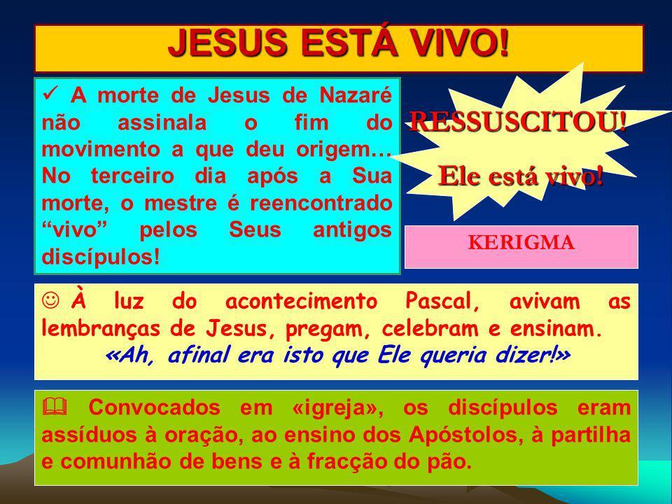 JESUS ESTÁ VIVO! A morte de Jesus de Nazaré não assinala o fim do movimento a que deu origem… No terceiro dia após a Sua morte, o mestre é reencontrad