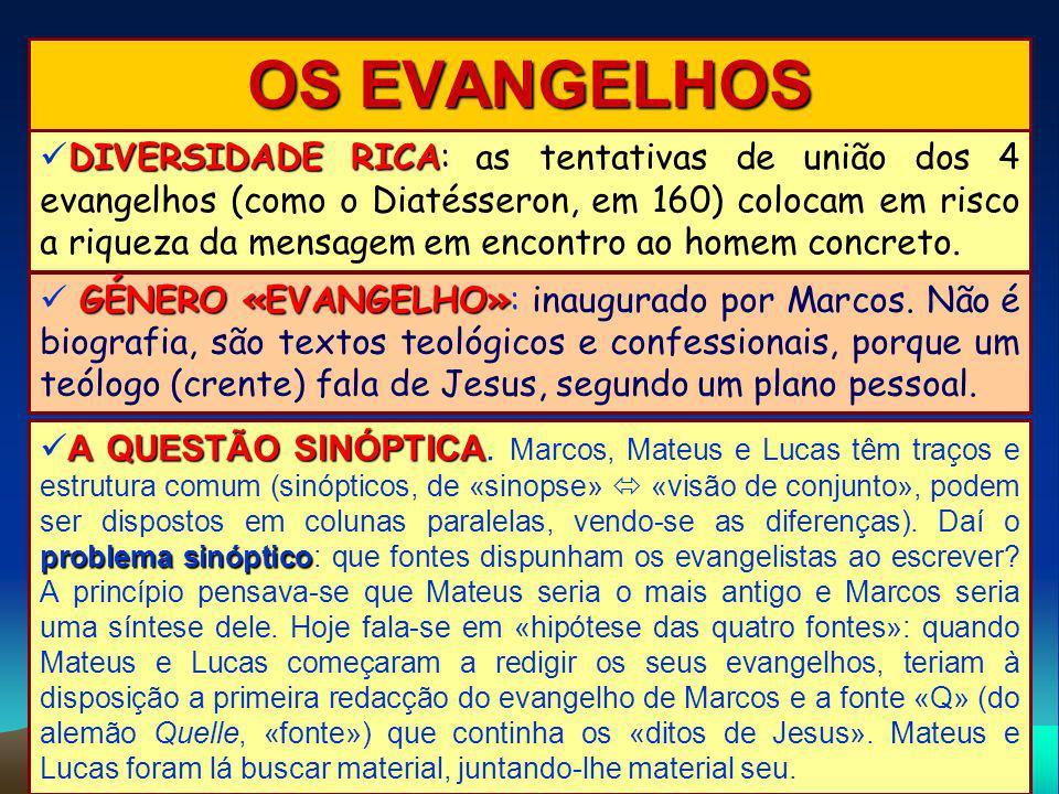 OS EVANGELHOS DIVERSIDADE RICA DIVERSIDADE RICA: as tentativas de união dos 4 evangelhos (como o Diatésseron, em 160) colocam em risco a riqueza da me