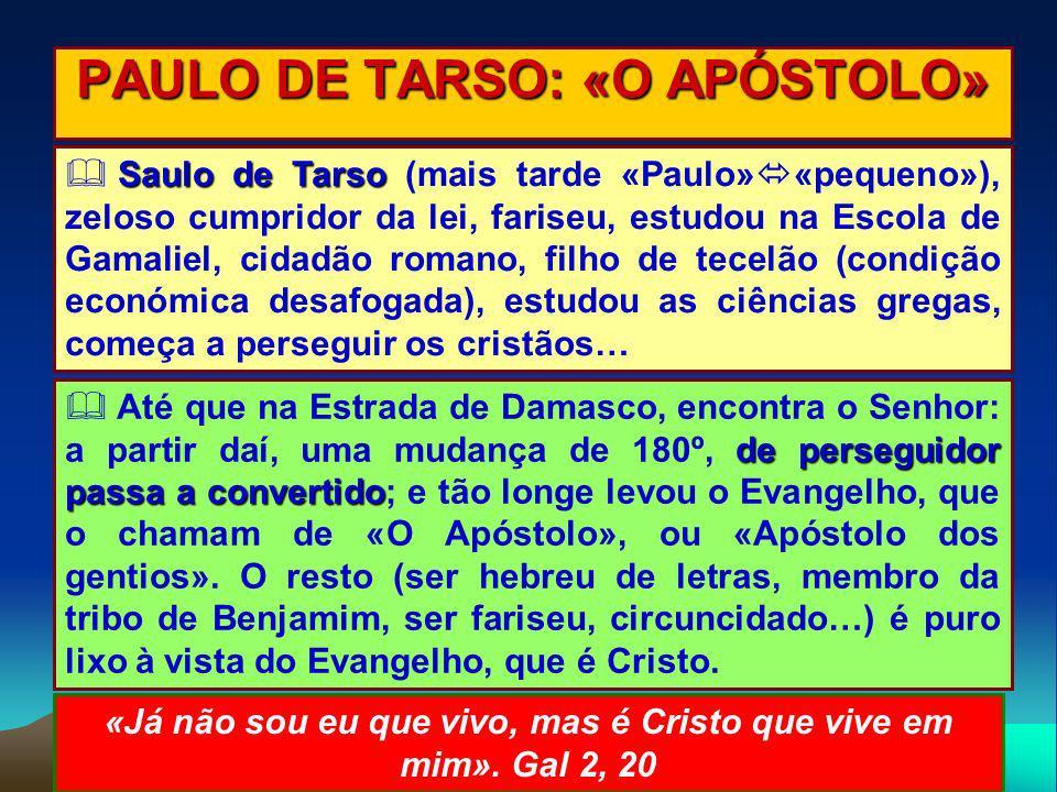 PAULO DE TARSO: «O APÓSTOLO» Saulo de Tarso Saulo de Tarso (mais tarde «Paulo» «pequeno»), zeloso cumpridor da lei, fariseu, estudou na Escola de Gama