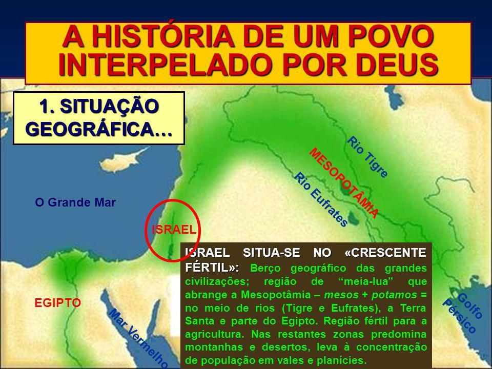 A HISTÓRIA DE UM POVO INTERPELADO POR DEUS 1. SITUAÇÃO GEOGRÁFICA… ISRAEL SITUA-SE NO «CRESCENTE FÉRTIL»: ISRAEL SITUA-SE NO «CRESCENTE FÉRTIL»: Berço
