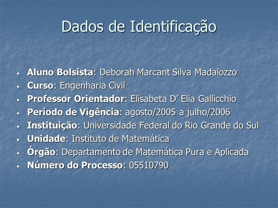 Dados de Identificação Aluno Bolsista: Deborah Marcant Silva Madalozzo Aluno Bolsista: Deborah Marcant Silva Madalozzo Curso: Engenharia Civil Curso: