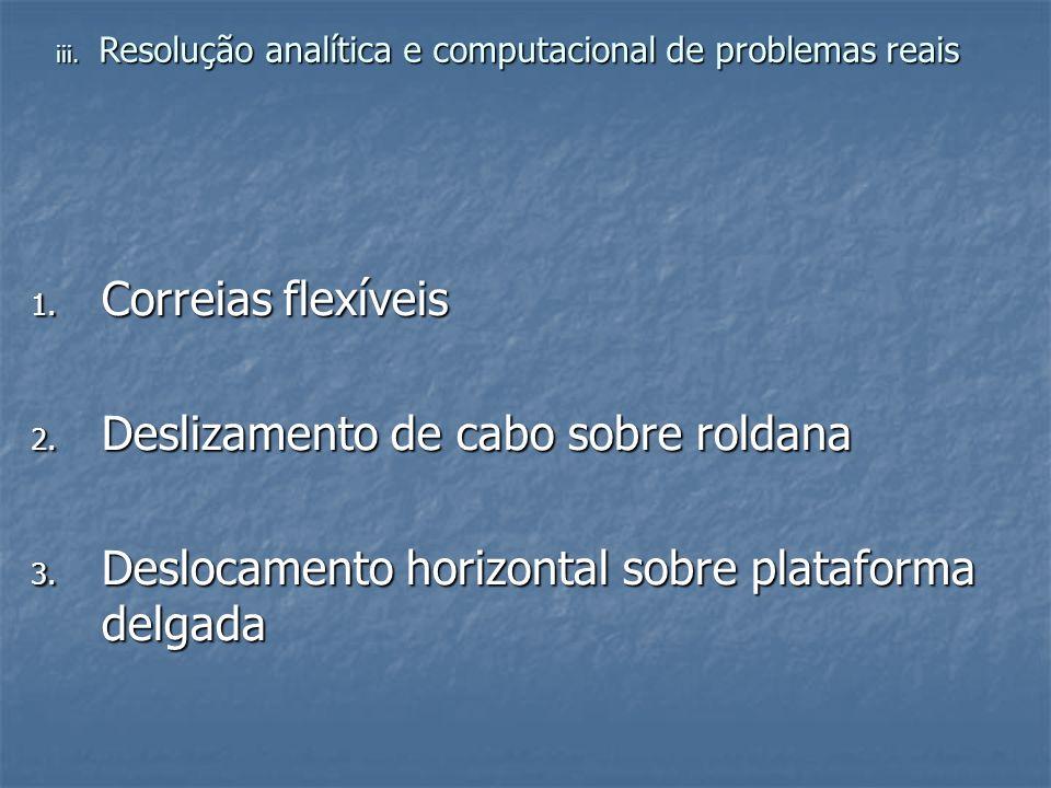 1. Correias flexíveis 2. Deslizamento de cabo sobre roldana 3. Deslocamento horizontal sobre plataforma delgada iii. Resolução analítica e computacion