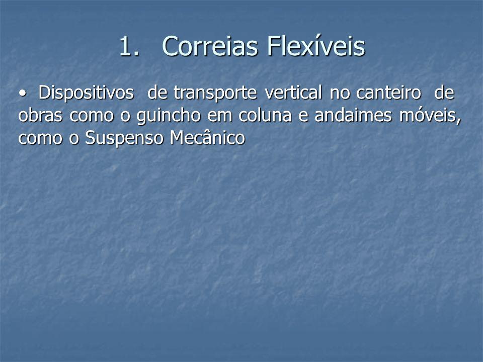 1.Correias Flexíveis Dispositivos de transporte vertical no canteiro de obras como o guincho em coluna e andaimes móveis, como o Suspenso Mecânico Dis