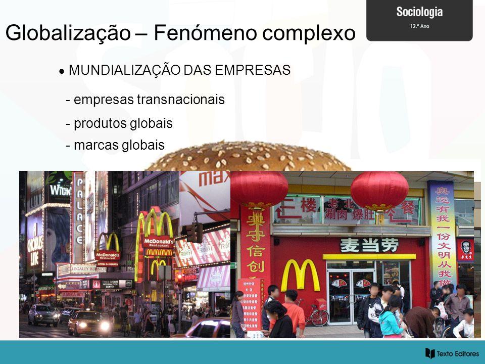 Globalização – Fenómeno complexo MUNDIALIZAÇÃO DAS EMPRESAS - empresas transnacionais - produtos globais - marcas globais