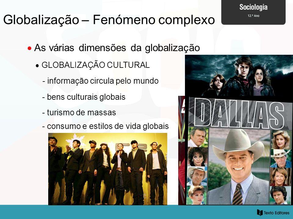 Globalização – Fenómeno complexo As várias dimensões da globalização GLOBALIZAÇÃO CULTURAL - informação circula pelo mundo - bens culturais globais - turismo de massas - consumo e estilos de vida globais