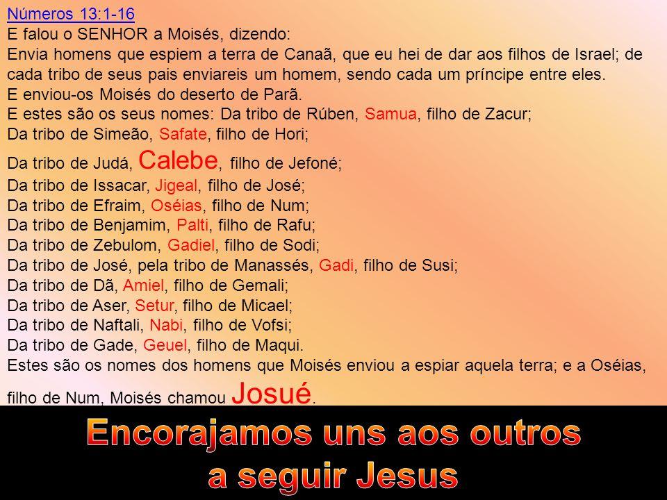 Números 13:1-16 E falou o SENHOR a Moisés, dizendo: Envia homens que espiem a terra de Canaã, que eu hei de dar aos filhos de Israel; de cada tribo de