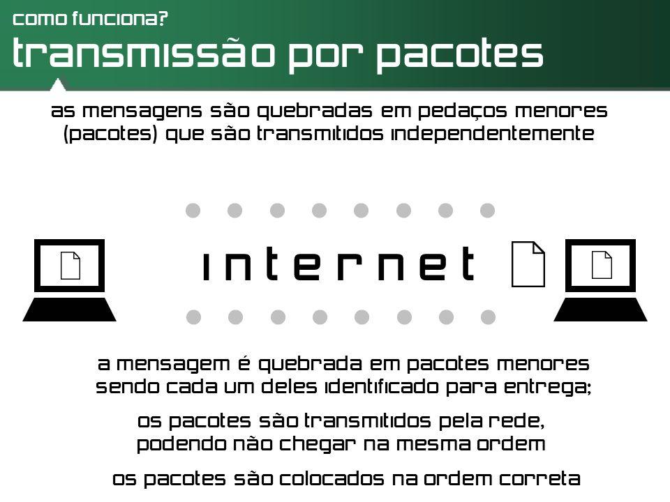 como funciona? transmissão por pacotes as mensagens são quebradas em pedaços menores (pacotes) que são transmitidos independentemente i n t e r n e t.