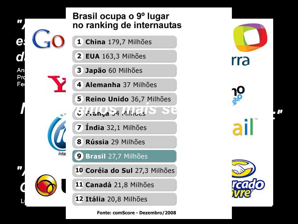 alguns dados interessantes Em fevereiro de 2009, o número de usuários residenciais no Brasil chegou a 22 milhões de pessoas, 56,7% a mais que em fevereiro de 2006 Fonte: Ibope/NetRatings Em fevereiro de 2009, o número de usuários residenciais ativos foi de 24,8 milhões, 12,5% a mais que em fevereiro de 2008 Fonte: Ibope Nielsen Online Dos 24,8 milhões de usuários ativos de fevereiro de 2009, 21,5 milhões ou 87% usaram banda larga, 24% a mais que em fevereiro de 2008