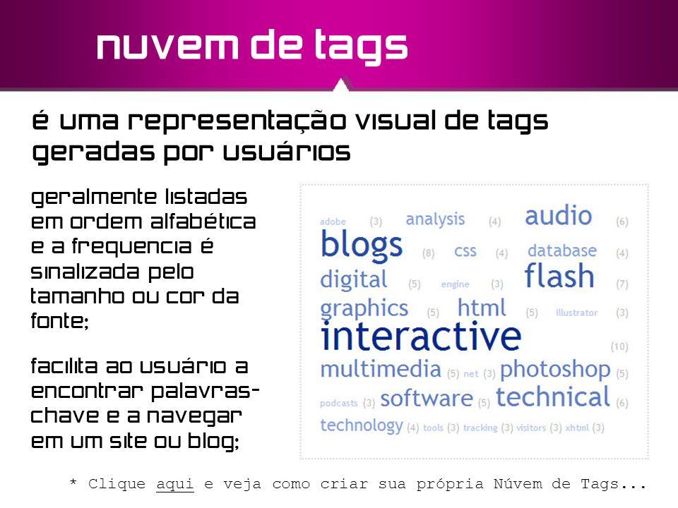 nuvem de tags é uma representação visual de tags geradas por usuários facilita ao usuário a encontrar palavras- chave e a navegar em um site ou blog;