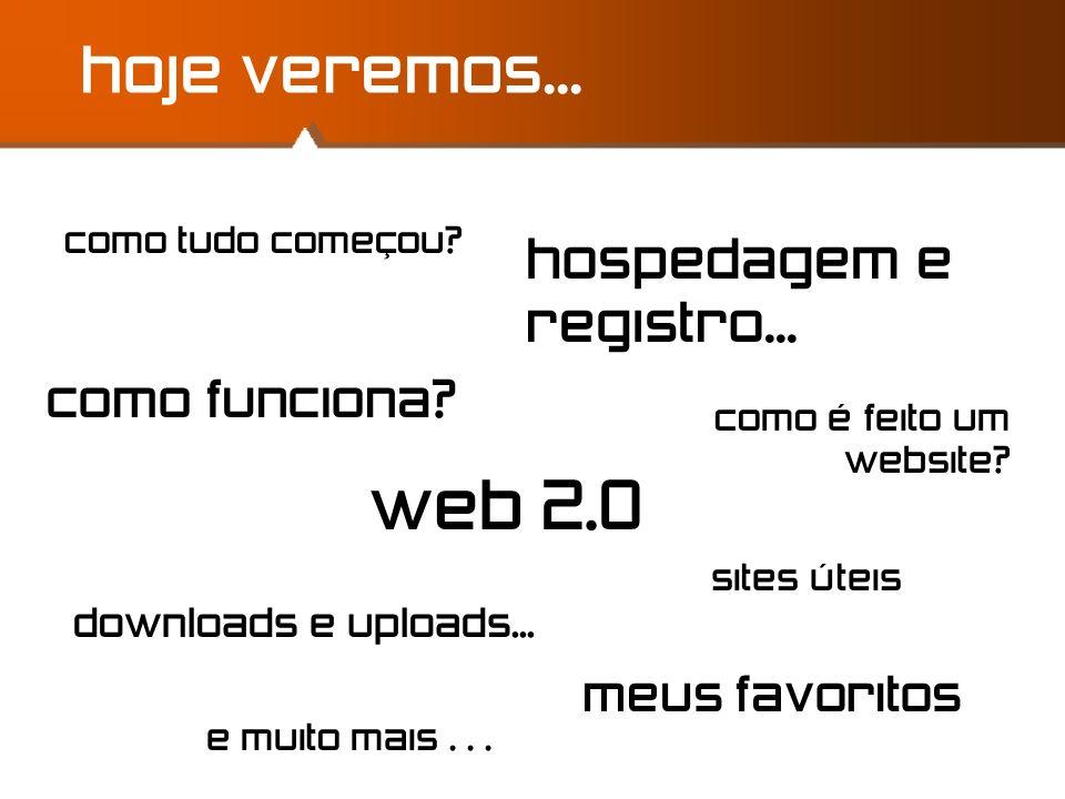 como tudo começou? web 2.0 hoje veremos... como funciona? hospedagem e registro... downloads e uploads... sites úteis meus favoritos e muito mais... c