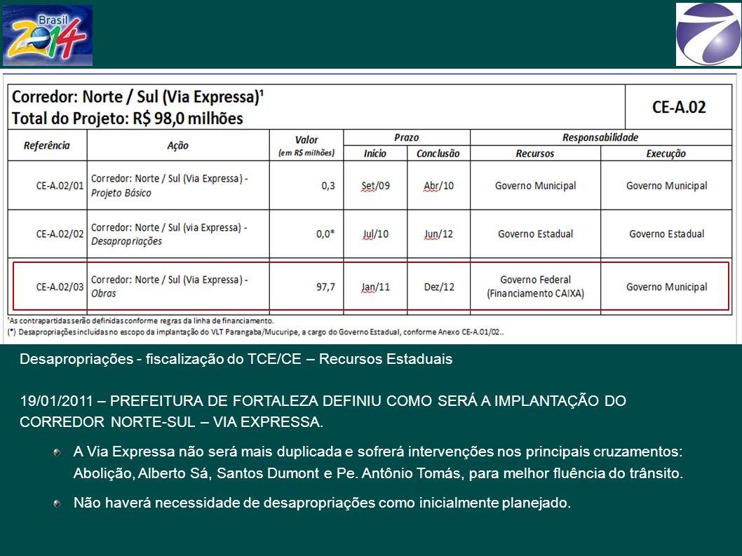 Desapropriações - fiscalização do TCE/CE – Recursos Estaduais 19/01/2011 – PREFEITURA DE FORTALEZA DEFINIU COMO SERÁ A IMPLANTAÇÃO DO CORREDOR NORTE-SUL – VIA EXPRESSA.