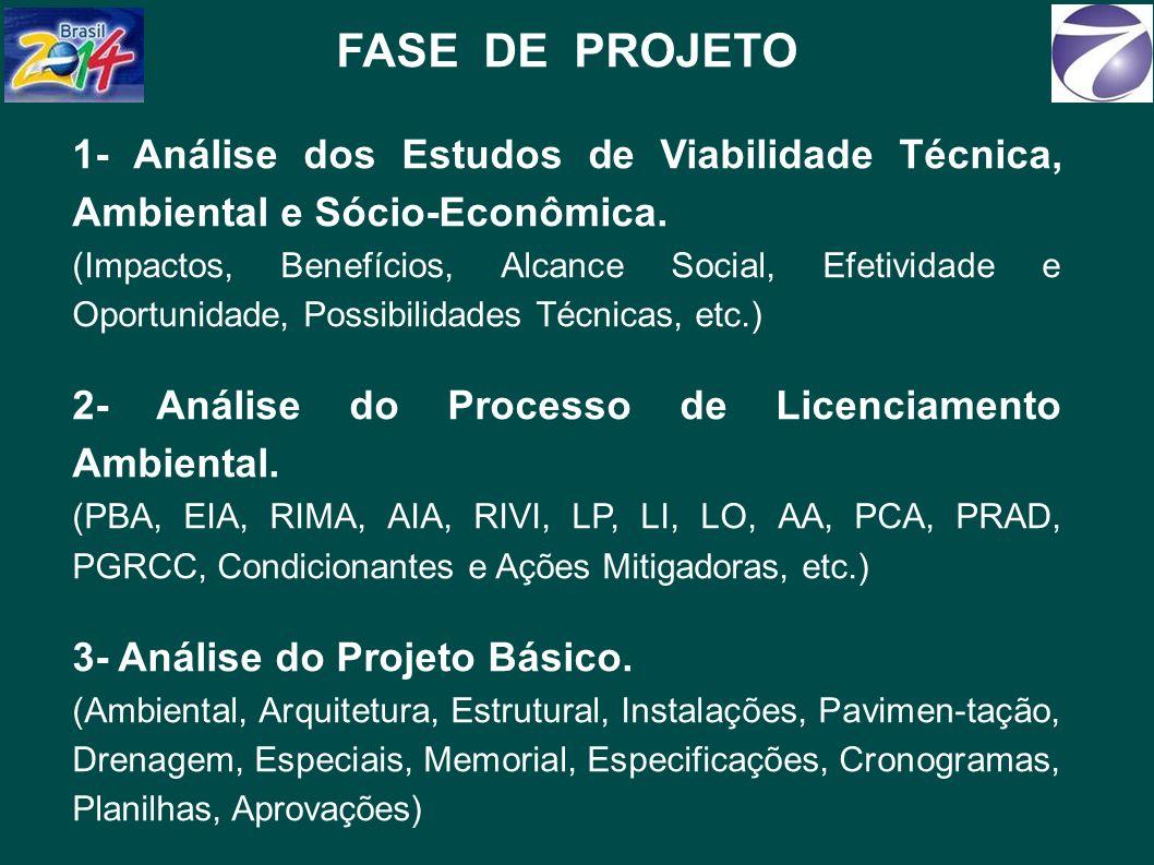 FASE DE PROJETO 1- Análise dos Estudos de Viabilidade Técnica, Ambiental e Sócio-Econômica.